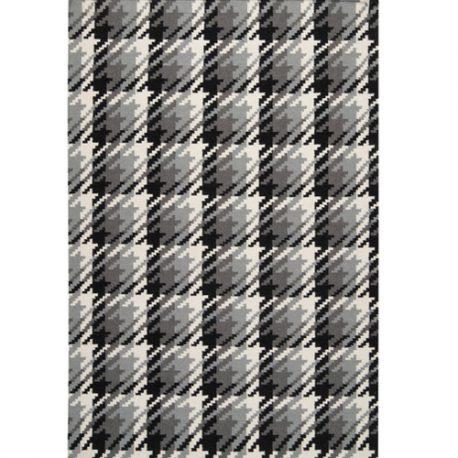Tapete Kilim Surya preto, cinza e branco