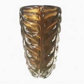 Vaso de Cristal Ambar com Pó de Ouro