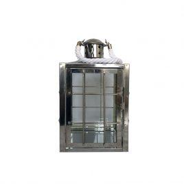 Lanterna Vidro e Metal Prata P