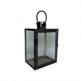 Lanterna Vidro e Metal Preto P
